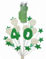 Golf 40th birthday cake topper decoration in green and white - free postage